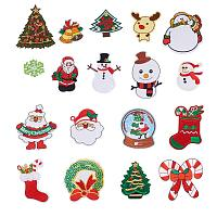 NBEADS 18PCS Iron on Christmas Patches Embroidered Patches Sew-on Badges Appliques for Jeans, Clothing or Christmas Decoration