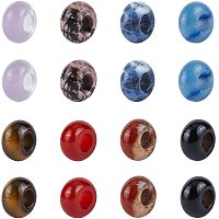 NBEADS 16 Pcs Mixed Natural Gemstone European Beads, 8 Colors 6mm Large Hole Beads Bracelet Spacer Beads Charms for Jewelry Makings