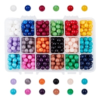 18 Color Natural Mashan Jade Round Beads Strands, Dyed, with Bead Container, Mixed Color, 8mm, Hole: 1mm, about 450pcs/box