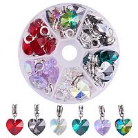 PandaHall Elite 30PCS 6 Colors Heart Glass Dangle Pendants Charms for DIY Necklace Earrings, Bracelets Jewelry Making