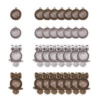 ARRICRAFT 32pcs Tibetan Alloy Owl Round Pendant Trays Blank Bezel with 32pcs 20mm Round Clear Glass Cabochon Dome Tiles for Crafting DIY Jewelry Making