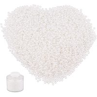 PandaHall Elite 17400 pcs 12/0 Glass Seed Beads, 2mm Round Pony Bead Mini Spacer Beads Waist Beads for Earring Bracelet Pendants Waist Chain Jewelry DIY Craft Making, White