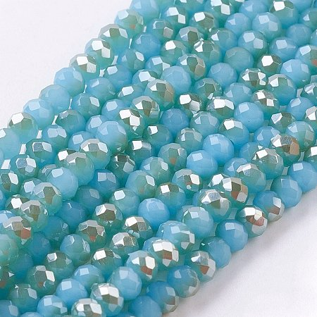 NBEADS 10 Strands Half Plated Turquoise Imitation Jade Electroplate Faceted Abacus Glass Beads Strands with 3x2mm,Hole: 1mm,About 100pcs/strand