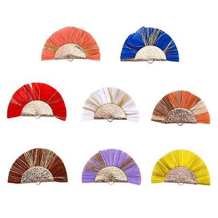 PandaHall Elite 8 pcs 8 Colors Fan Shape Raffia Tassel Pendants Earring Hoop with Metallic Cords Brass Findings for DIY Earring Craft Making