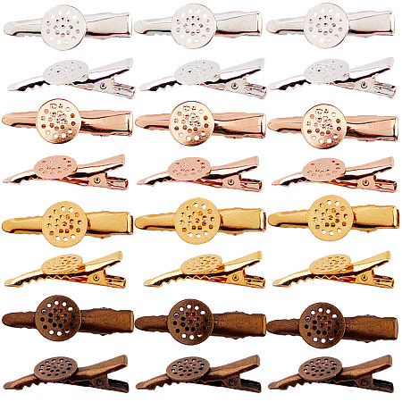 SUNNYCLUE Hair Accessories Iron Alligator Hair Clip Findings, with Brass Flat Cabochon Bezel Settings, Mixed Color, 35x4mm; Flat Round: 12mm; 4 colors, 6pcs/color, 24pcs