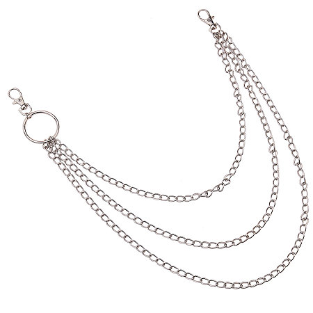 SUNNYCLUE Iron Three-Tiered Chain Belts, with Aluminum End Chains, Curb Chains and Lobster Claw Clasps, Platinum, 20.16 inches(51.2cm)