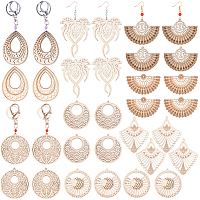 SUNNYCLUE DIY Dangle Earring Making, with Brass Earring Hooks, Undyed Wood Big Pendants, Acrylic Beads, Iron & Alloy Lobster Claw Clasp Keychain, Iron Eye Pin, Platinum & Golden