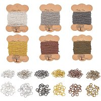 PandaHall Elite Necklace Chains 6 Color Link Cable Chain Necklace with 120pcs Lobster Clasps, 300pcs Jump Rings Bulk for Jewelry Chain Making, 196ft/ 65yards Long