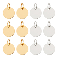 SUPERFINDINGS Brass Stamping Blank Tag Charms, Nickel Free, Flat Round, 12x0.25mm, Hole: 4mm, Golden & Silver, 12x0.25mm, Hole: 4mm, 2 colors, 50pcs/color, 100pcs/box