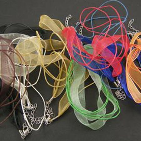 NBEADS 100 Strands Jewelry Making Necklace Cord, with 2 Threads Wax Cord, Organza Ribbon and Iron Findings, Mixed Color, 17