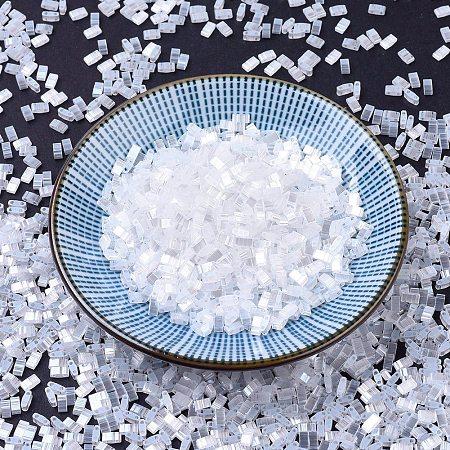 MIYUKI Half TILA Beads, Japanese Seed Beads, 2 Hole, (HTL2548) Crystal Silk Satin Luster, 5x2.3x1.9mm, Hole: 0.8mm; about 250pcs/10g