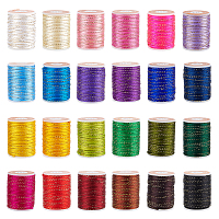 Olycraft Polyester Cord, with Gold Metallic Cord, Chinese Knotting Cord, Mixed Color, 1.5mm; about 4m/roll, 24 colors, 1roll/color, 24rolls/set
