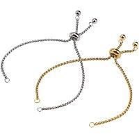 Arricraft 8 Strands 2 Colors 9 Inch 304 Stainless Steel Adjustable Slider Chain Bracelet Slider Extender Chains with Ball Ends for DIY Bracelet Jewelry Making