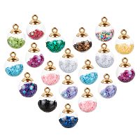 Glass Ball Pendants, with Star Glitter Sequins, Golden Plated CCB Plastic Cup Peg Bails and Bead Container, Round, Mixed Color, 20.5x15mm, Hole: 2.5mm, 90pcs/box