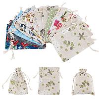 CHGCRAFT Polycotton(Polyester Cotton) Packing Pouches Drawstring Bags, Mixed Pattern, Mixed Color, 14x10cm; 15 patterns, 2pcs/pattern, 30pcs/set