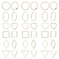 SUNNYCLUE Brass Linking Rings, Mixed Shapes, Real 18K Gold Plated, 13~24x13.5~20x1mm; 48pcs/box