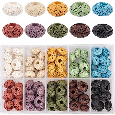 NBEADS 100 Pcs Natural Lava European Beads, 10 Colors Flat Round Large Hole Beads Lava Stone Rock Loose Beads Volcanic Gemstone for Jewelry Making