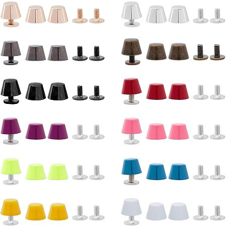 PandaHall Elite 24 Sets 12 Colors Alloy Screw Back Spike Purse Handbag Feet Nailhead Stud Flat Buckle Button Cap Rivets DIY Leather Craft