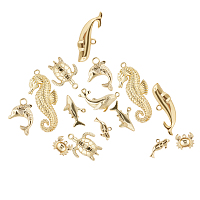 SUNNYCLUE Alloy Pendants, Ocean Theme, Lead Free & Nickel Free & Cadmium Free, Mixed Shapes, Real 14K Gold Plated, 23.5x30x3mm, Hole: 3mm,16pcs/Box