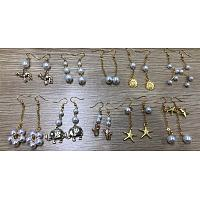 SUNNYCLUE DIY Glass Pearl Beads Earring Making Kits, Include Alloy Pendants, Brass Earring Hooks & Findings, Mixed Shapes, Golden, 19.5x19x2mm, Hole: 2mm