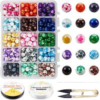 NBEADS About 375 Pcs Glass Beads, Baking Painted 8mm Round Beads with Beading Needles & Scissors for Bracelet Necklace Jewelry Making