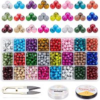 PH PandaHall 24 Color 6mm Glass Beads Spray Painted Glass Beads, Drawbench Glass Beads Round Beads with Scissors, Crystal String, Needles for Necklace Bracelets Jewelry Making, About 1560pcs Totally