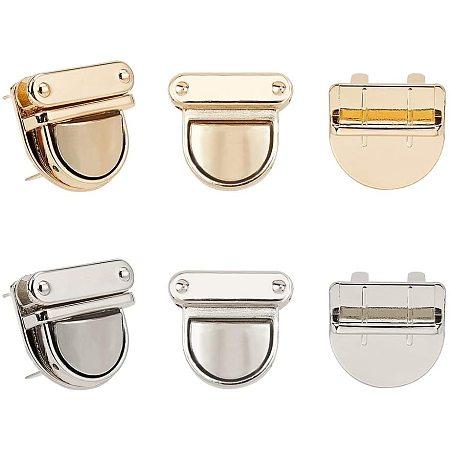 PandaHall Elite 8 Sets Alloy Bag Lock Twist Lock Light Gold Tuck Lock Bag Clasp Accessories for Leather Bag DIY, Golden/Platinum