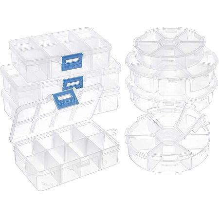 PandaHall Elite 8 pcs 4 Styles Clear Plastic Jewelry Organizer Boxes Including 4 pcs 8 Grids 6 Grides Round 4 pcs 2 Sizes 10 Grids 8 Grids Rectangle Jewelry Dividers Box Bead Case Storage Container