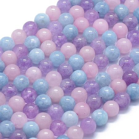 NBEADS Natural Aquamarine & Rose Quartz & Amethyst Beads Strands, Round, 8mm, Hole: 1mm; about 50pcs/strand, 15.7