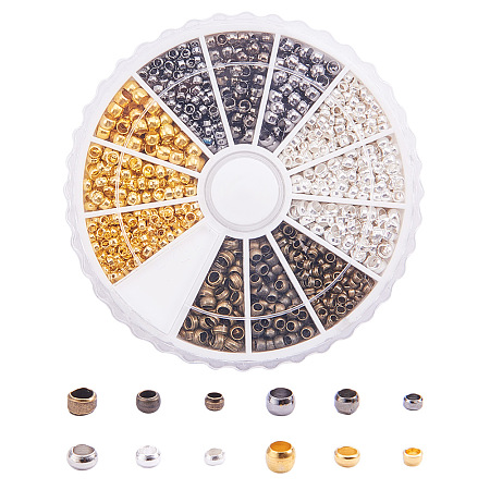 PandaHall Elite About 1440 Pcs Brass Tube Crimp Beads Cord End 3 Sizes Diameter 2-3mm for Jewelry Making 4 Colors