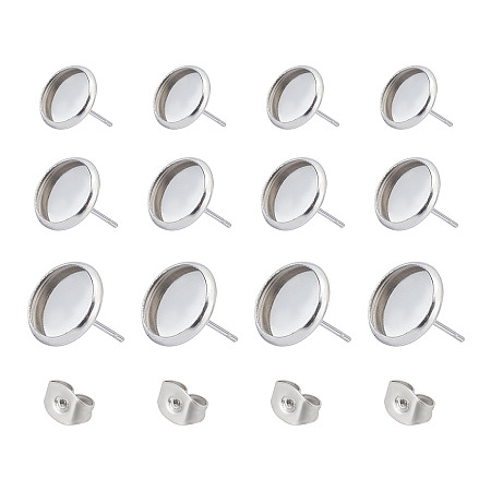 Unicraftale 304 Stainless Steel Stud Earring Settings, Tray: 8mm; 10mm, Pin: 0.6mm, Stainless Steel Color, 76pcs/box