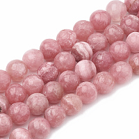 Arricraft Natural Chalcedony Beads Strands, Imitation Rhodochrosite, Dyed & Heated, Round, 8~9mm, Hole: 1mm, about 45~48pcs/strand, 15.7 inches