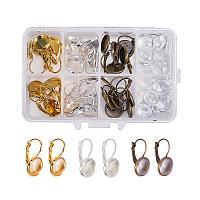 PH PandaHall 30 Sets Leverback Earring Blanks Kit, 30pcs French Lever Back Earrings Bezel Trays with 40pcs 12mm Clear Glass Cabochons for DIY Earring Making (Silver, Golden, Antique Bronze)