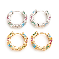 NBEADS Brass Micro Pave Cubic Zirconia Huggie Hoop Earrings, Ring, Colorful, Mixed Color, 15.5x16.5x4mm, Pin: 1mm