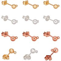 PandaHall Elite 45 Pairs(90pcs) 3 Colors Brass Earring Studs Ear Pin Ball Post with Butterfly Earring Backs for Earring Making Findings, Golden/Silver/Rose Gold