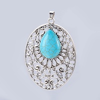 NBEADS Synthetic Turquoise Big Pendants, with Alloy Findings, Oval with Drop, Antique Silver, 64x46x8mm, Hole: 5x6mm