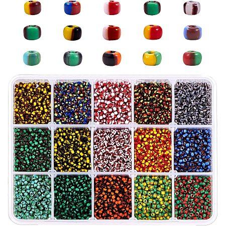 PandaHall Elite Glass Seed Beads, 9900 pcs 15 Styles 8/0 Striped Seed Beads 3mm Small Pony Beads Waist Beads Czech Bead Bugle Beads for Earring Bracelet Necklace Choker Jewelry DIY Craft Making
