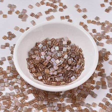 MIYUKI® TILA Beads, Japanese Seed Beads, 2-Hole, (TL4578) Crystal Celsian Matte, 5x5x1.9mm, Hole: 0.8mm; about 118pcs/10g