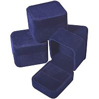 Square Velvet Ring Jewelry Boxes, with Plastic, Black, 49.5x54.5x41.5mm