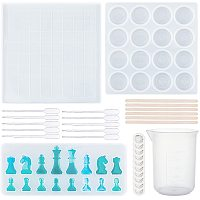 DIY Chess Board & Pieces Silicone Molds, Resin Casting Molds, For UV Resin, Epoxy Resin Craft Making, Classic Games for Children and Adults, Clear, 277x277x9mm, 1pc