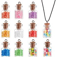 PandaHall Elite 40 Pieces Colorful Glass Bottle Pendant Crystal Glass Ball Charms with Colorful Balls Decorations for DIY Crafting Craft Supplies, 10 Colors