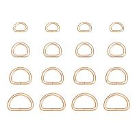 PandaHall Elite 60 pcs 4 Sizes Iron D Ring Metal Clasps Key Chain Findings for Buckle Straps Bags Belt, Light Gold