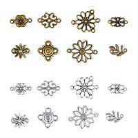 Tibetan Style Alloy Links, Flower, Mixed Color, 7.4x7.2x1.7cm, 80pcs/box