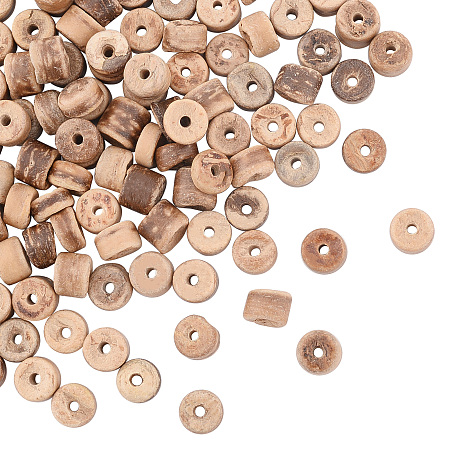 Olycraft Natural Coconut Shell Rondelle Bead Strands, 5.5x1.5~5mm, Hole: 1mm; about 124pcs/strand, 15.7 inches, 4strands/box