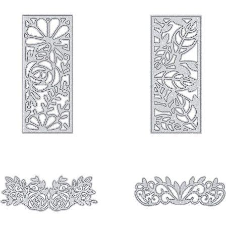 PandaHall Elite Metal Cutting Dies Stencils, 4 pcs Plant Shape Carbon Steel Scrapbooking Dies Cuts Scrapbooking Die Cuts Stencils Template Embossing for DIY Scrapbooking Card Making