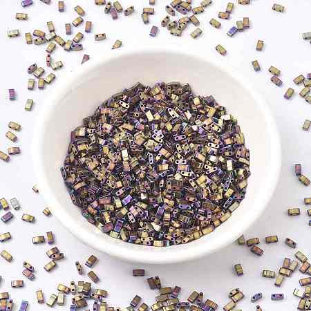 MIYUKI Half TILA Beads, Japanese Seed Beads, 2 Hole, (HTL188) Metallic Purple Gold Iris, 5x2.3x1.9mm, Hole: 0.8mm; about 250pcs/10g