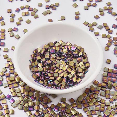 MIYUKI TILA Beads, Japanese Seed Beads, 2-Hole, (TL188) Metallic Purple Gold Iris, 5x5x1.9mm, Hole: 0.8mm; about 118pcs/10g