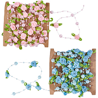 ABS Plastic Imitation Pearl Beaded Trim Garland Strand, with Polyester Ribbon Rose, for DIY Wedding Decoration, Mixed Color, Rose: 28.5x12mm; about 5m/card, 2 colors, 1card/color, 2cards/set