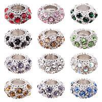 PH ARRICRAFT 100PCS Mixed Color Alloy Rhinestone Large Hole European Beads, Platinum- 11x6mm, Hole: 5mm