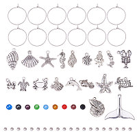PandaHall Elite 60pcs 20mm Silver Brass Wine Glass Charm Rings with 20pcs Seashell Sea Creatures Charms Pendants, 20pcs Transparent Glass Beads and 20pcs Brass Spacer Beads for Party Favor